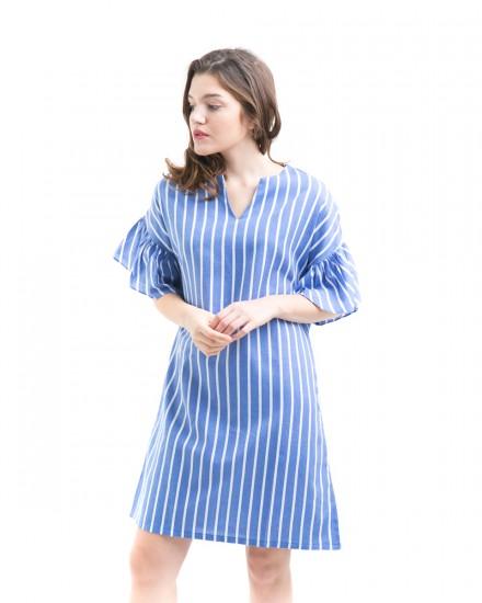 marion dress blue stripes