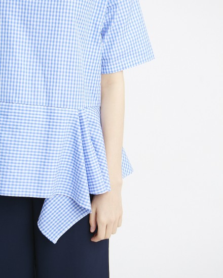 aska top gingham blue
