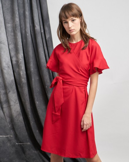 okra dress red