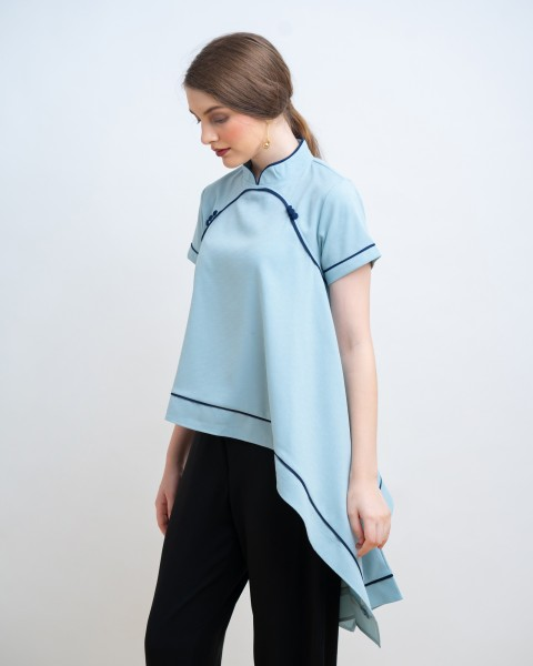 LIE QIPAO TOP BLUE