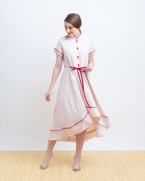 HUANG QIPAO DRESS CREME