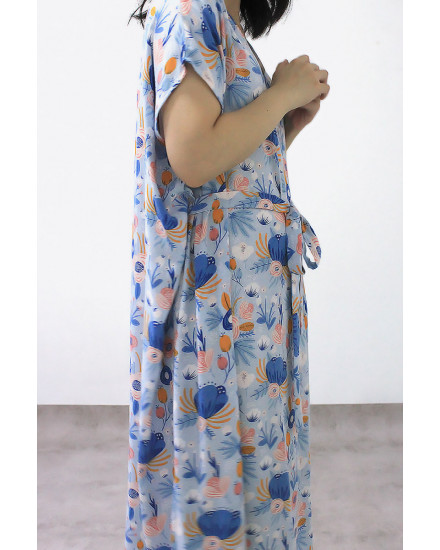 KANORI DRESS FLORA BLUE