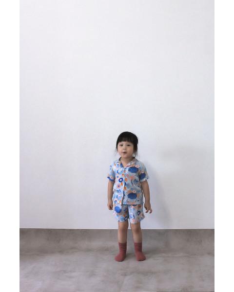 MINI MORA SHIRT FLORA BLUE